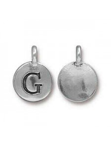 Charm Letter  G 16.6x11.6mm Anti Silver