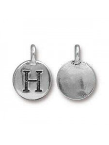 Charm Letter  H 16.6x11.6mm Anti Silver