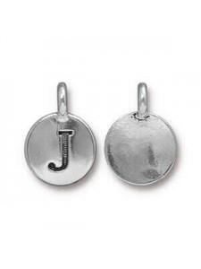 Charm Letter  J 16.6x11.6mm Anti Silver