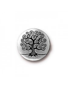 Button Tree of Life 16mm  Antique Silver