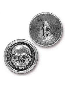 Button Scary Skull 17mm Antique Silver