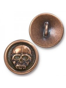 Button Scary Skull 17mm Antique Copper