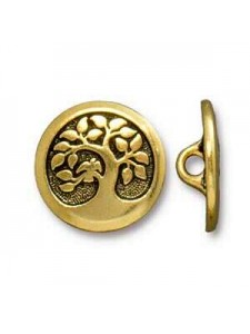 Button Bird in Tree 17mm Antique Gold