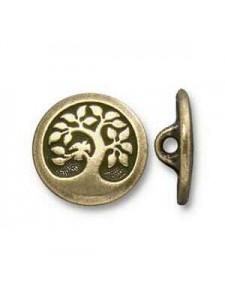 Button Bird in Tree 17mm Oxidised Bronze