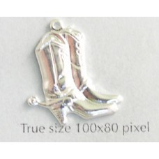 Cowboy Boots Charm Silver Plated