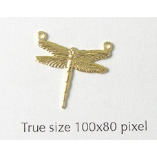 Dragonfly Charm Small 2 rings   Gold Pl.
