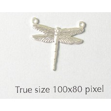 Dragonfly Charm Small 2 rings   Silver P