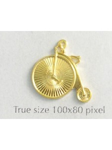 Bicycle Penny Farthing Charm Gold