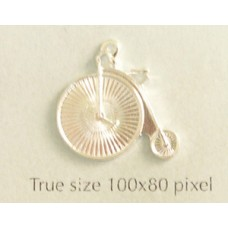 Bicycle Penny Farthing Charm Silver