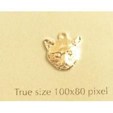 Cat Head Charm Silver Plated