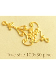 Earring Part 2 Loop Long Floral  Gold Pl