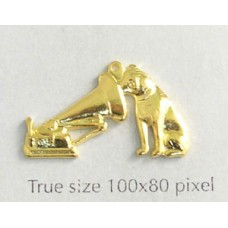 Dog & Gramophone Charm Gold Plated