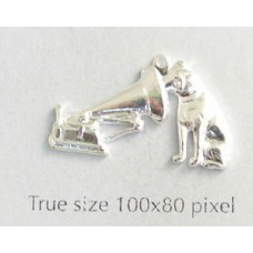 Dog & Gramophone Charm Silver Plated