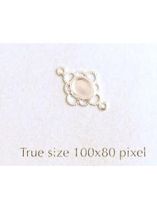 Filigree spacer 2 rings 8mm Silver plate