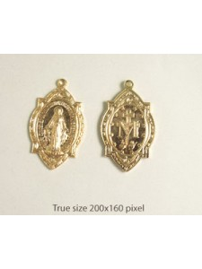 Religious Medallion 28x18mm Gold Plated