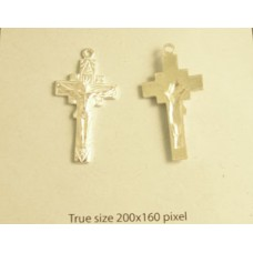 Cross w/Christ 30x16mm Silve Plated