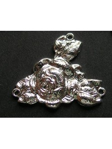 Rose connector 3 ring 27x25mm Silver Pl