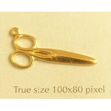 Closed Scissors Charm Gold Plated