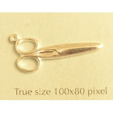 Closed Scissors Charm Silver Plated