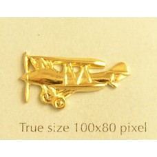 Biplane Charm Gold Plated