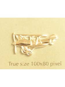 Biplane Charm Silver Plated