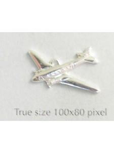 Airplane Charm Silver Plate