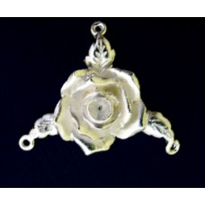 Large Rose 3 links  Pewter Silver Plated