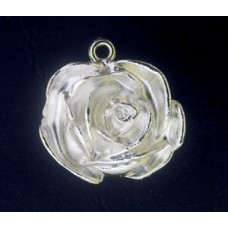 Large Rose Pendant 1 ring Pewter SP