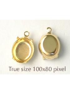 Setting 12x10mm Oval CB 1 ring Gold plat