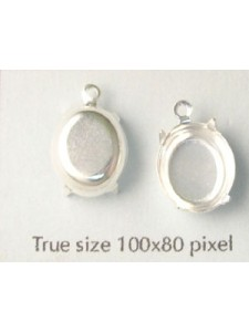Setting 12x10mm Oval CB 1 ring Silver pl