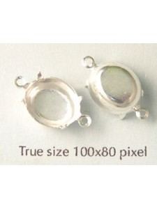 Setting 12x10mm Oval CB 2 ring Silver pl