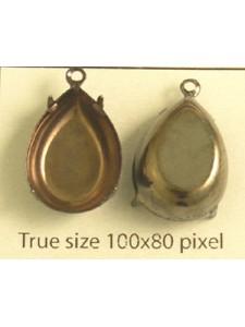 Setting 18x13mm Pear CB 1 ring Antiq BlK