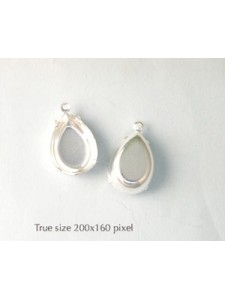 Setting 18x13mm Pear CB 1 ring Silver pl