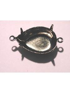 Setting 18x13mm Pear CB 2-ring Antiq Blk