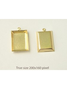 Rectangle Frame ~22x16mm 1-ring Gold pl.