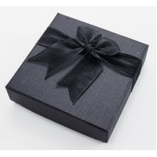 Box Braclete 9x9x3cm Black w/black bow