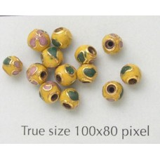 Cloisonne Bead Round Yellow 4mm