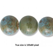 Ceramic Round Bead 12mm  Ant. Blue Green