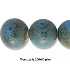 Ceramic Round Bead 14mm  Ant. Blue Green