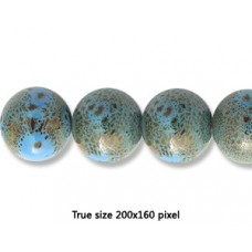 Ceramic Round Bead 18mm  Ant. Blue Green