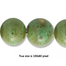 Ceramic Round Bead 14mm  Antique Green