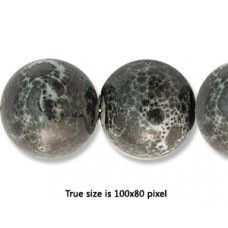 Ceramic Round Bead 14mm Antique Grey