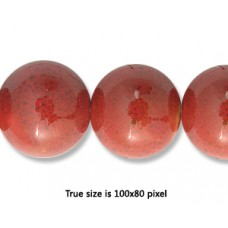Ceramic Round Bead 14mm  Antique Red