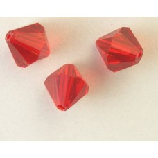 Chinese Bi-cone Bead 10mm Siam Red