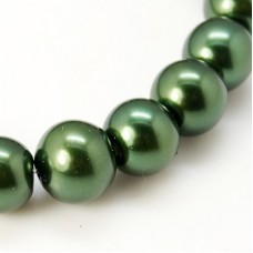 Glass Pearl 4mm Round Dark Green ~215