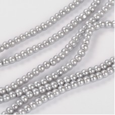 Glass Pearl 4mm LTBlue Silver ~215 beads