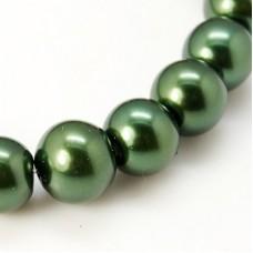 Glass Pearl 6mm Round Dk Green ~140 pcs