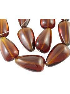 Coffee Drop 25mm glass bead - 13pcs/str