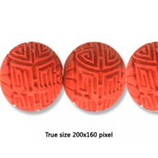Cinnebar Round Bead 28mm Red