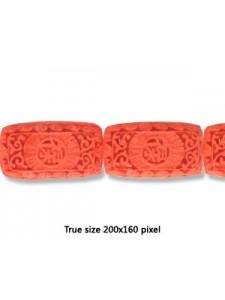Cinnebar Bead Flat Rectangle 17x30mm Red